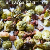 One Pan Sheet Pan Brussels Sprouts Recipe with Bacon and Garlic | @bestrecipebox
