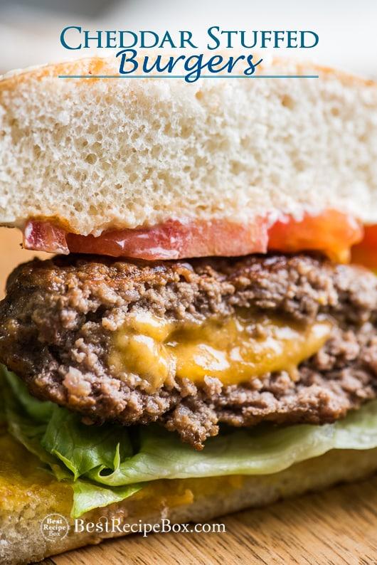 Cheddar Cheese-Stuffed Burgers-Juicy Lucy Hamburgers Cheeseburger Recipe   @bestrecipebox