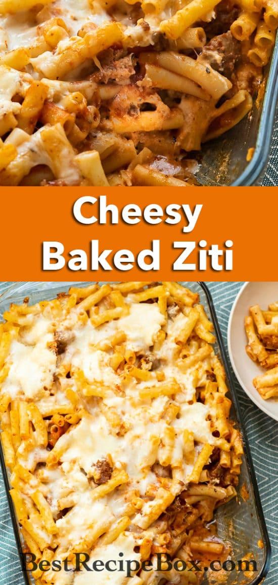 Easy Baked Ziti Recipe : cheesy pasta casserole with 3 cheeses | BestRecipeBox.com