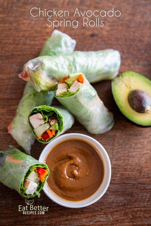 Chicken Avocado Spring Rolls or Summer rolls Recipe @EatBetterRecipes