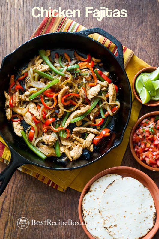Delicious Chicken Fajitas Recipe for Fajitas Tacos or Salad | @bestrecipebox