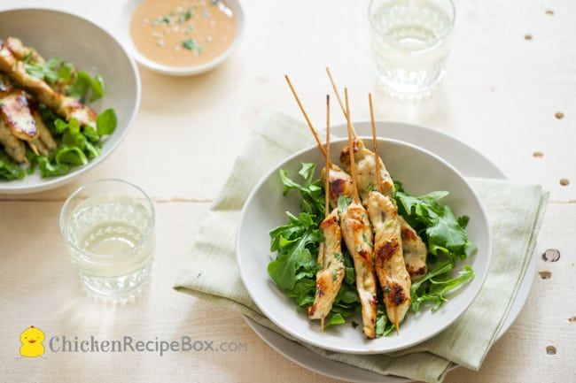 Chicken Satay Recipe with Peanut Dip from ChickenRecipeBox.com