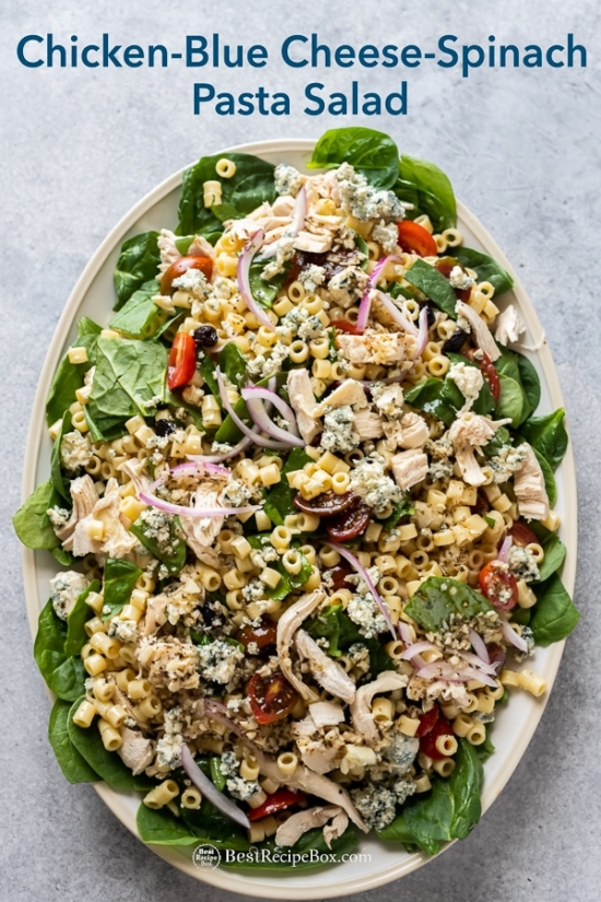 Big platter of pasta salad recipe with chicken, spinach and blue cheese on plate