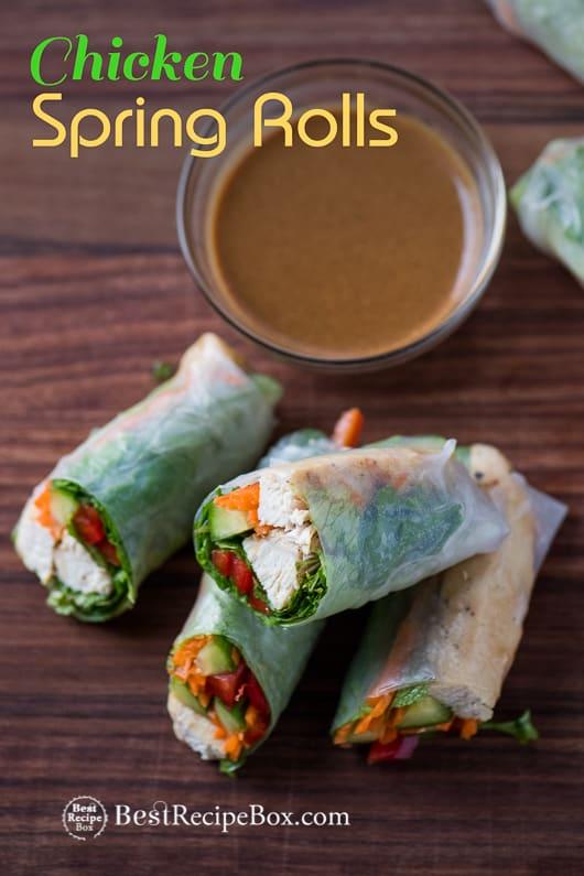 Chicken Spring Rolls Recipe with Peanut Dip Recipe on a cutting board