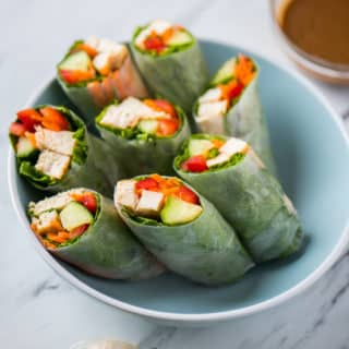 Chicken Spring Rolls with Peanut Dip
