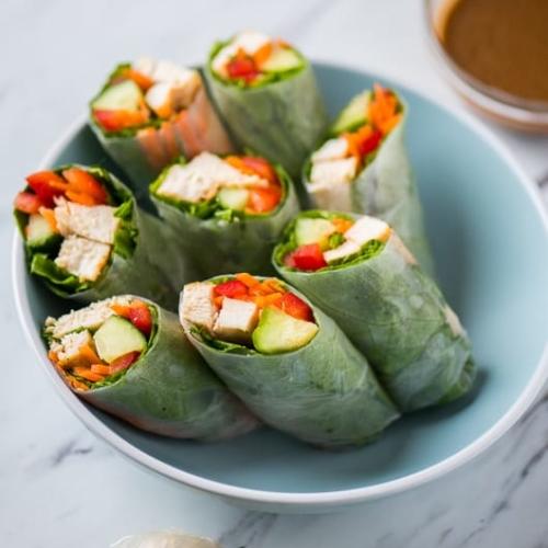 Healthy Chicken Spring Rolls Recipe With Peanut Dip