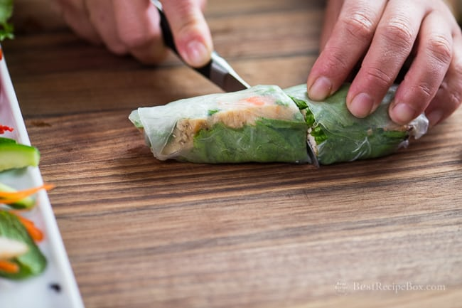 Chicken Spring Rolls Recipe with Peanut Dip Recipe | @bestrecipebox