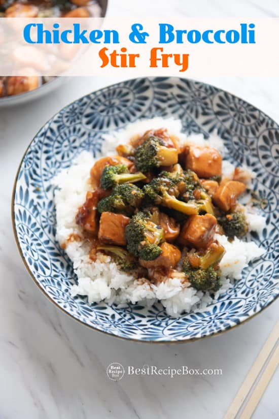 Skillet Chicken and Broccoli Stir Fry Recipe in bowl with rice
