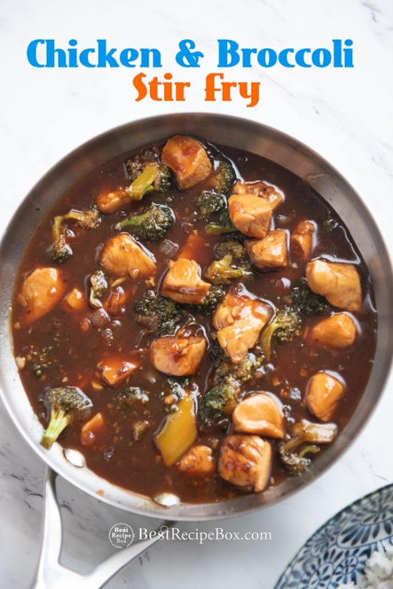 Skillet Chicken and Broccoli Stir Fry in pan