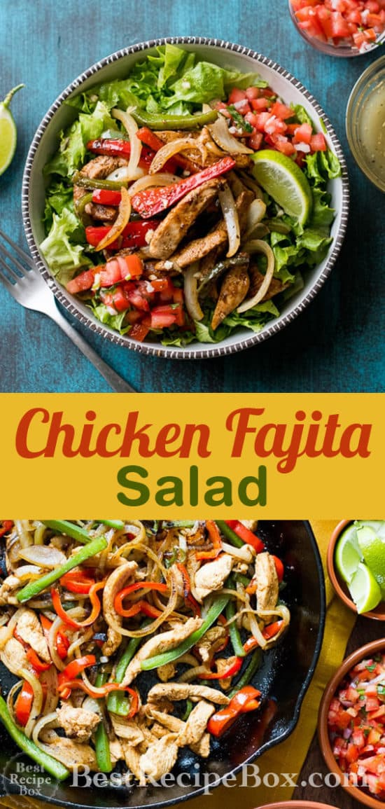 Chicken Fajita Salad Recipe | @bestrecipebox