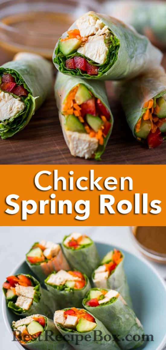 Chicken Spring Rolls Recipe with Peanut Dip Recipe | @bestrecipebox