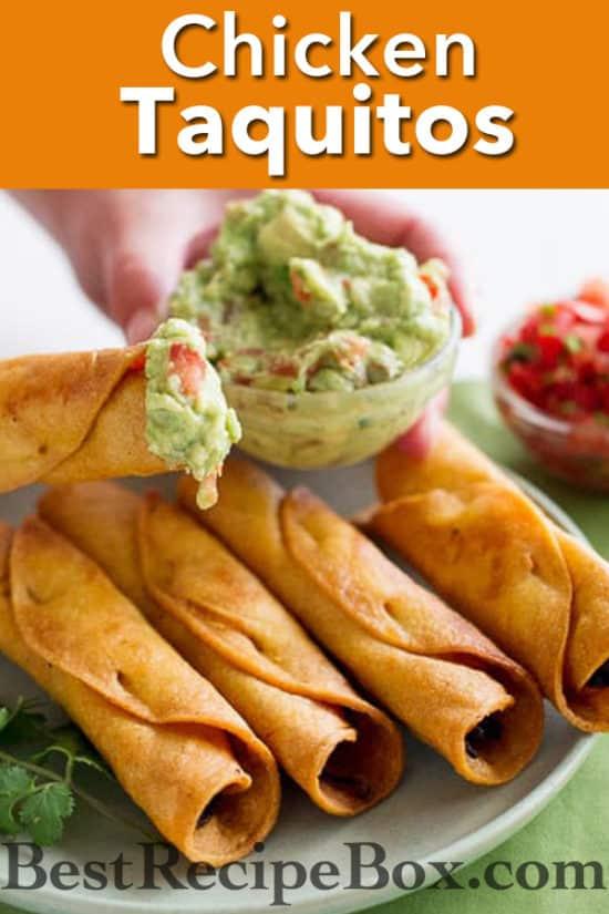 Easy Crispy Chicken Taquitos recipe or Rolled Chicken Tacos | @bestreicpebox
