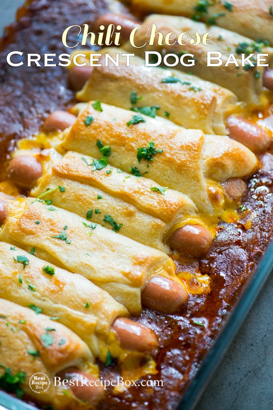 Chili Cheese Crescent Dog Bake for Chili Cheese Dog Lovers! | @bestrecipebox