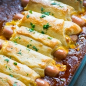 Chili Cheese Crescent Dog Bake for Game Day or Every Day! | @bestrecipebox