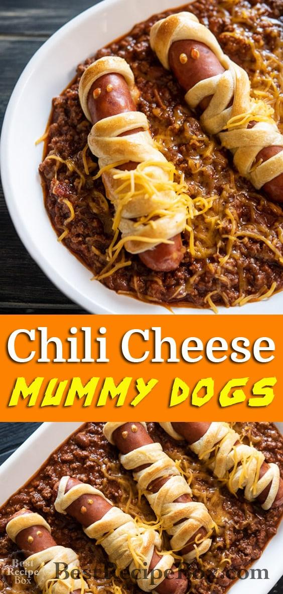 Chili Cheese Mummy Hot Dogs Recipe for Halloween Appetizer ideas @bestrecipebox