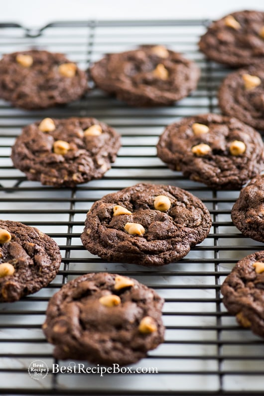 Soft and Chewy Chocolate Peanut Butter Chip Cookies on a cooling rack