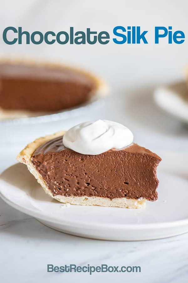 Easy Creamy Chocolate Silk Pie Recipe with just 4 Ingredients! BestRecipeBox.com