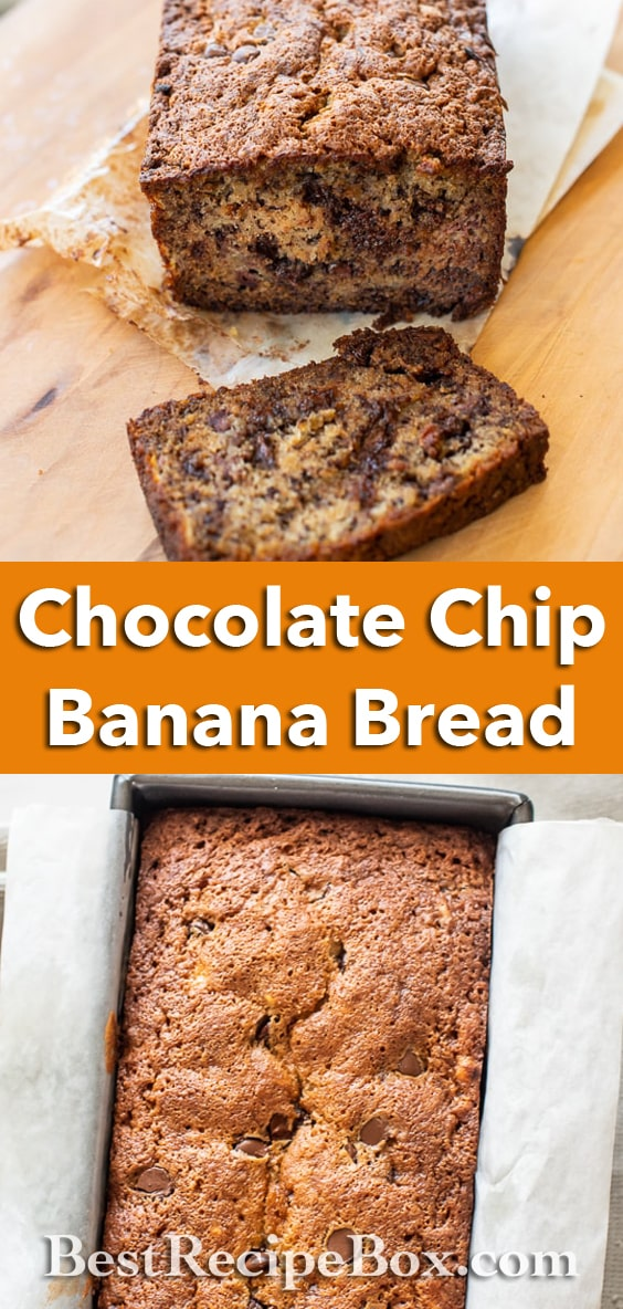 Chocolate Chip Banana Bread Recipe with Ripe Bananas | BestRecipeBox.com