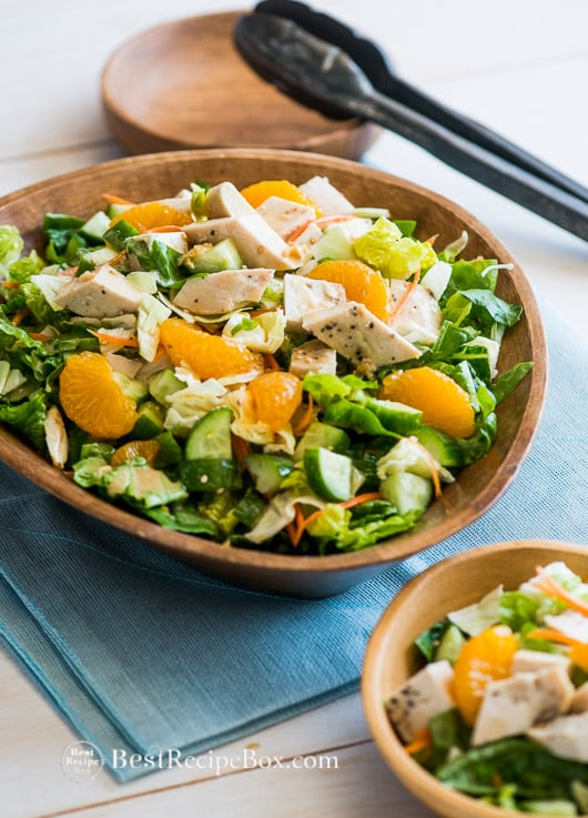 Chopped Asian Chicken Salad Recipe with a great dressing recipe in a bowl