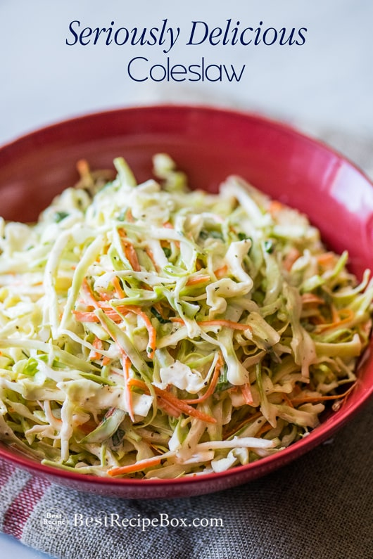 Easy Coleslaw Recipe and Best Cole slaw Recipe for Summer grilling or bbq | @bestrecipebox