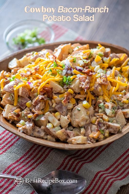 Cowboy Bacon Ranch Potato Salad Recipe in a bowl