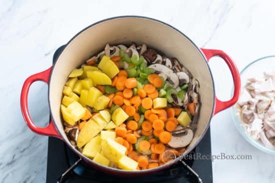 vegetables in saucepan