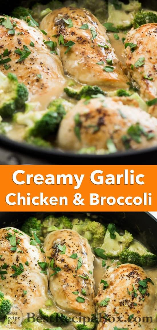 Skillet Creamy Garlic Chicken and Broccoli everyone will love! | @bestrecipebox