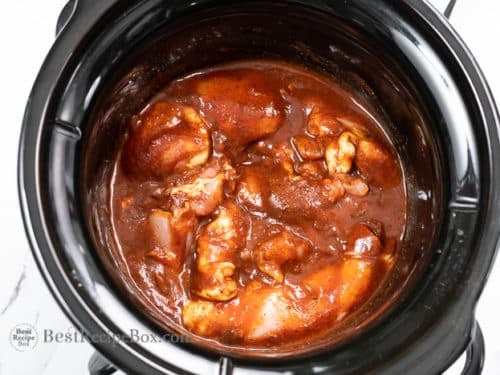 cooked chicken in slow cooker