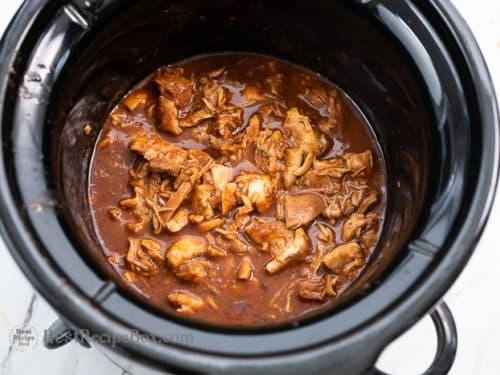Shredded chicken back in slow cooker