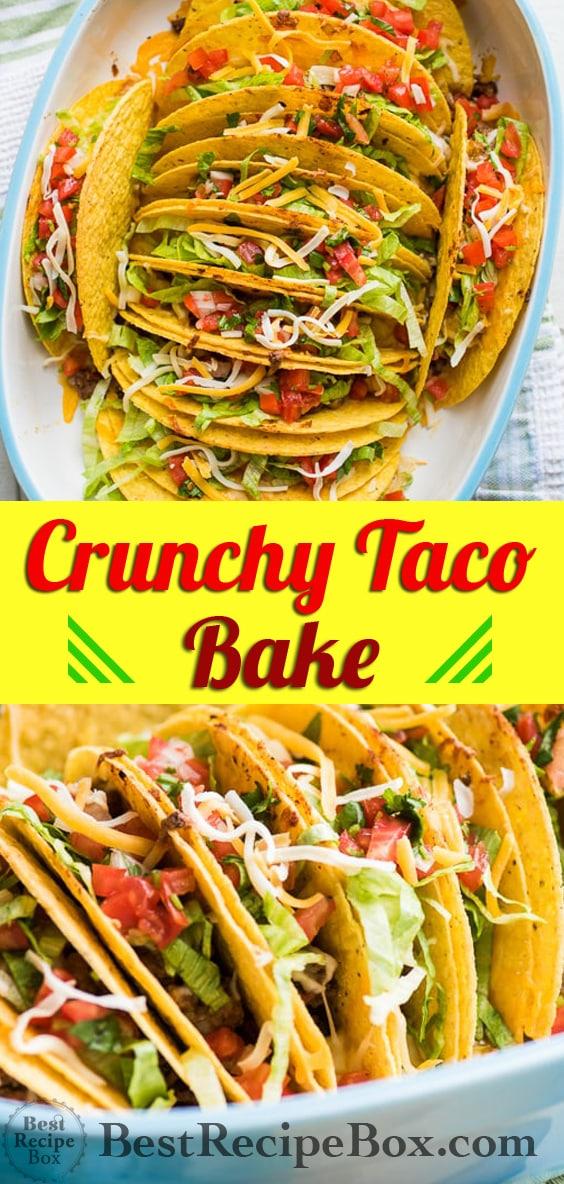 Crunch Beef Taco Bake or Taco Casserole Recipe | @bestrecipebox