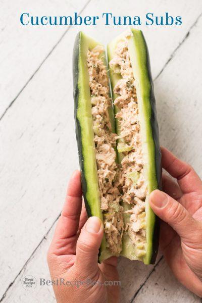 Cucumber Tuna Subs- Low carb Tuna Salad Sandwich step by step