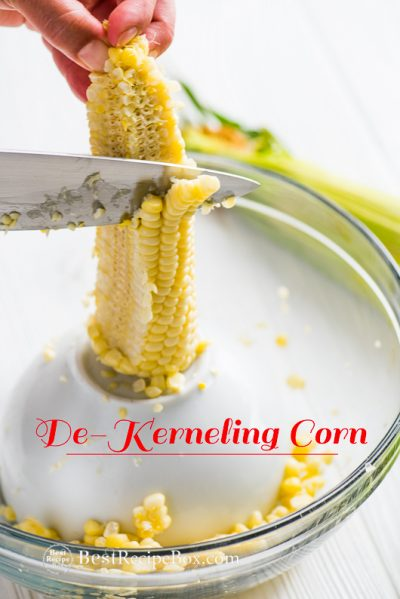 how to de kernel corn on the cob step by step