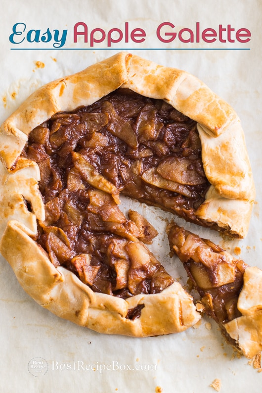 Easy Apple Galette Recipe or French Apple Pie Recipe on a baking sheet pan