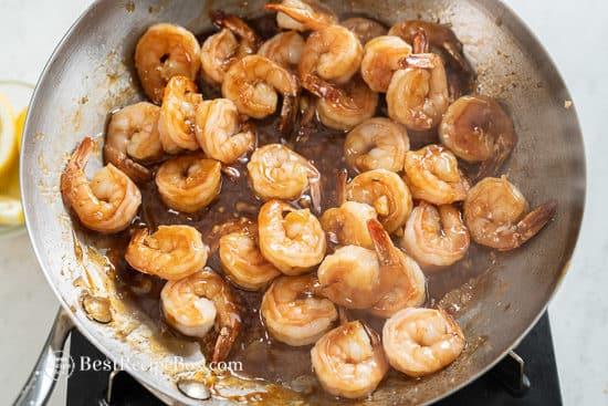 add honey garlic sauce to shrimp