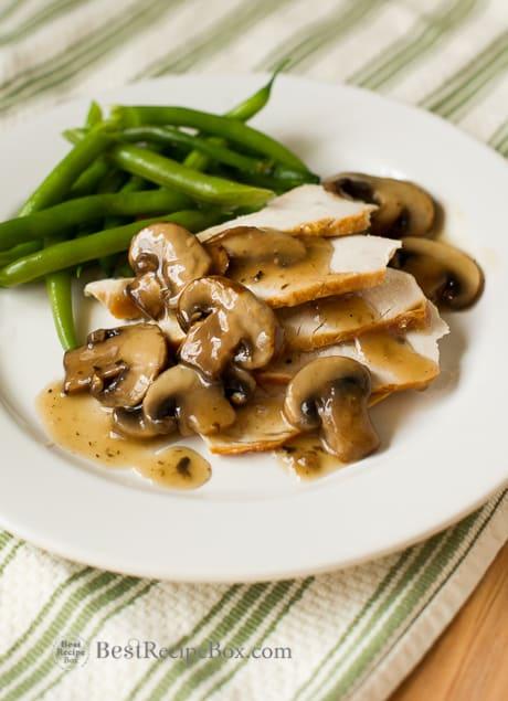 Easy Vegetarian Mushroom Gravy Sauce Recipe on a plate
