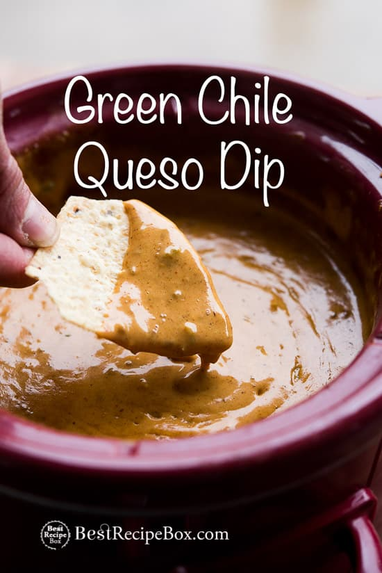 Slow Cooker Green Chile Queso Dip Recipe in a slow cooker with chips