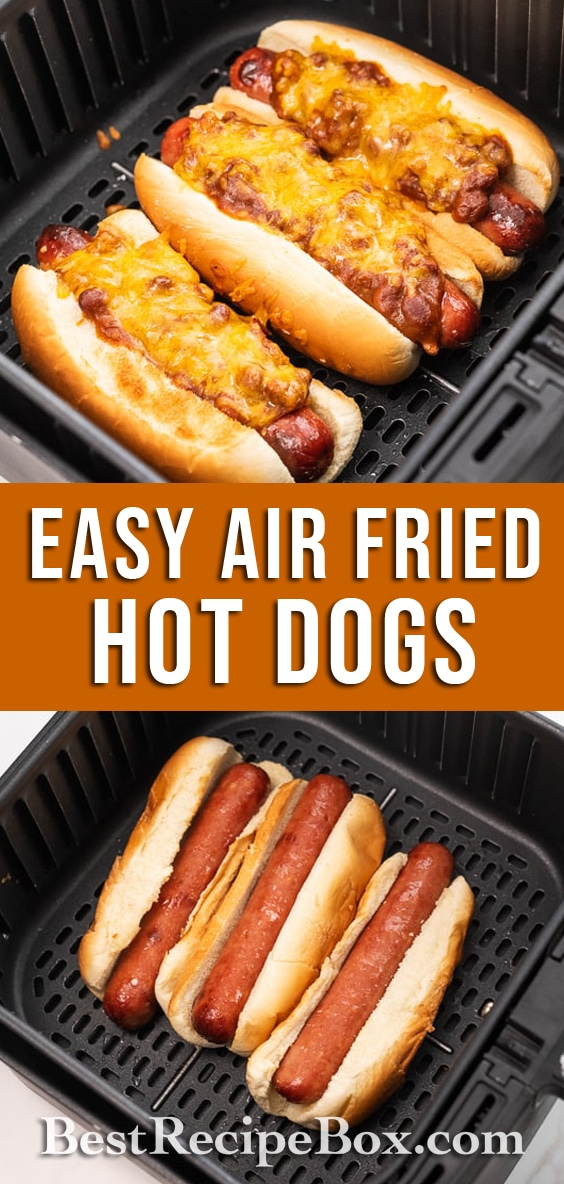 Air Fryer Hot Dogs Recipe with Bacon, Chili cheese @bestrecipebox