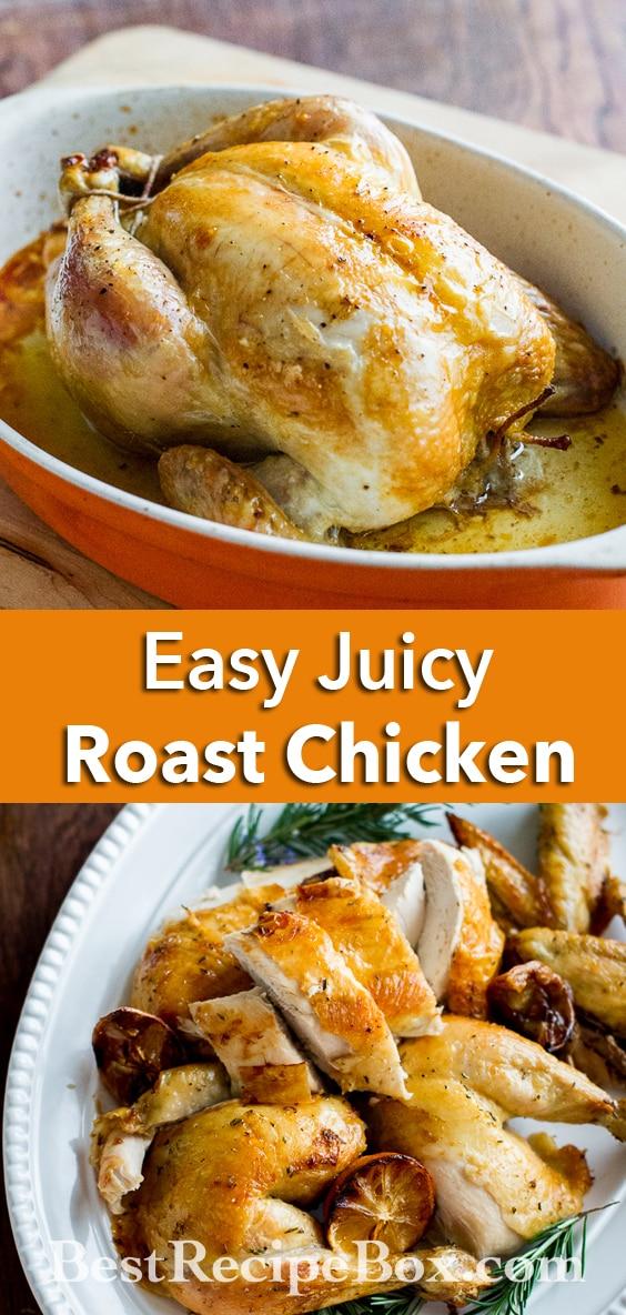 Easy Roast Chicken Recipe that's juicy, crispy skin and delicious! @bestrecipebox