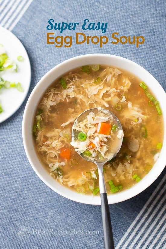 Easy Classic Chinese Egg Drop Soup Recipe in a bowl