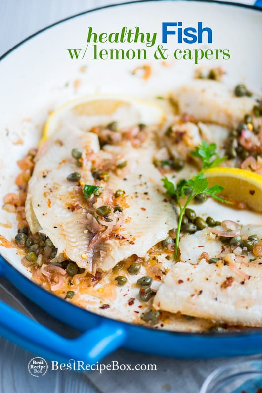 Healthy White Fish Recipe with Lemon Caper Sauce | @bestrecipebox