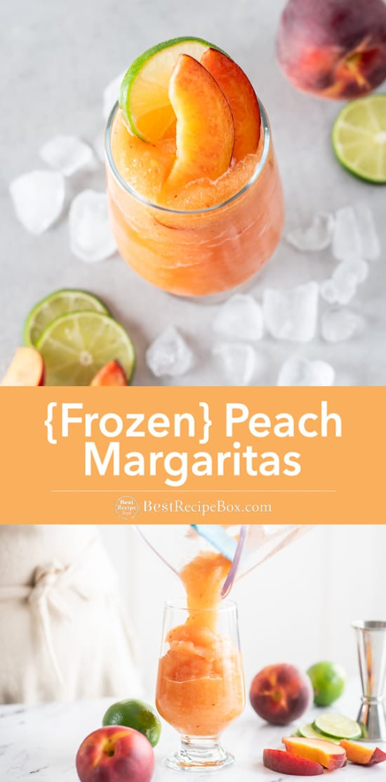 Frozen Peach Margaritas Recipe Blended in a glass pouring