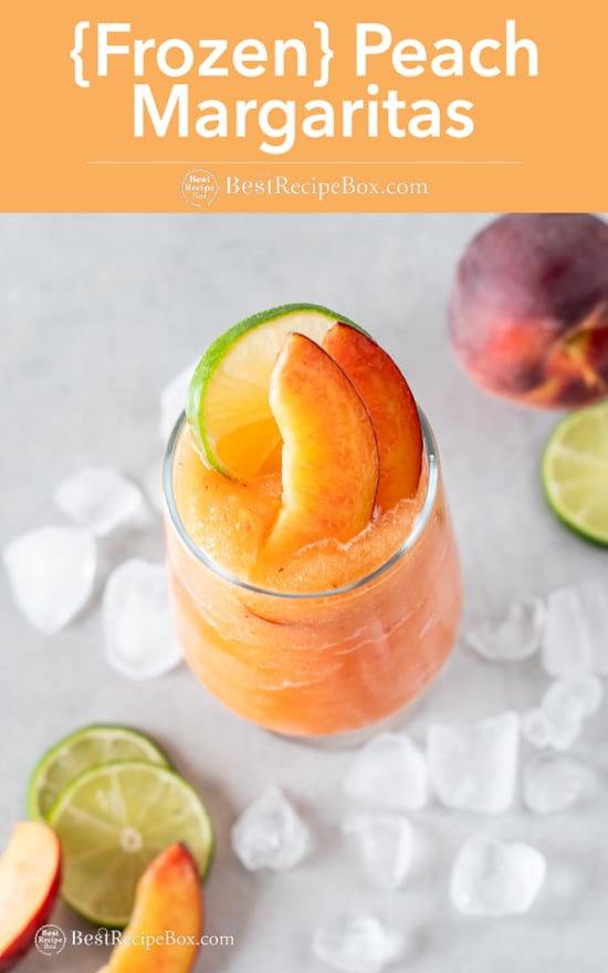 Frozen Peach Margaritas Recipe Blended in a glass