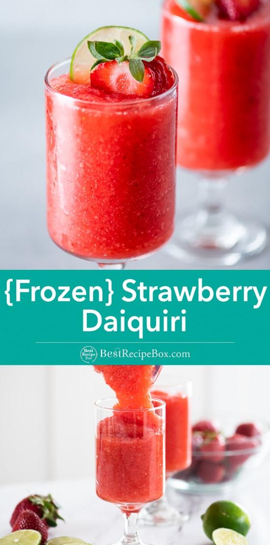 Frozen Strawberry Daiquiri Cocktail Recipe in a glass
