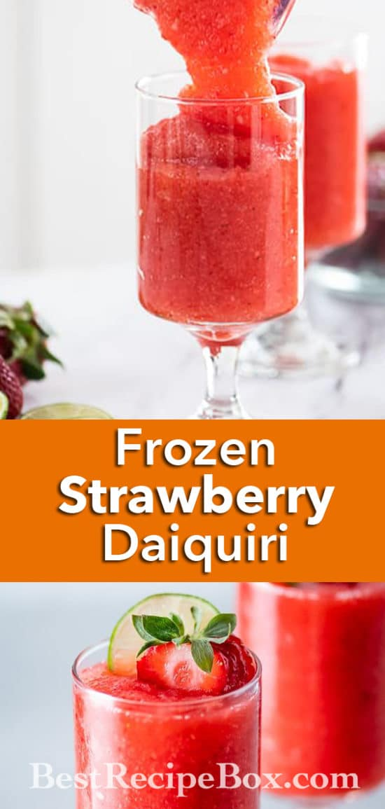 Frozen Strawberry Daiquiri Cocktail Recipe Blended | BestRecipeBox.com