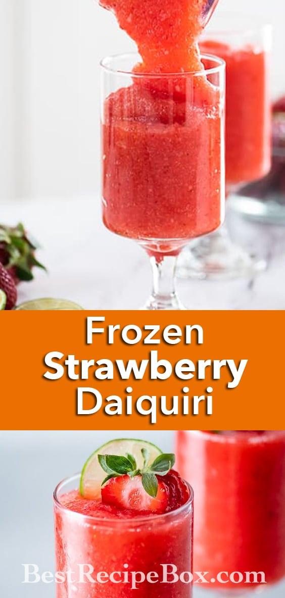 Frozen Strawberry Daiquiri Cocktail Recipe Blended   BestRecipeBox.com