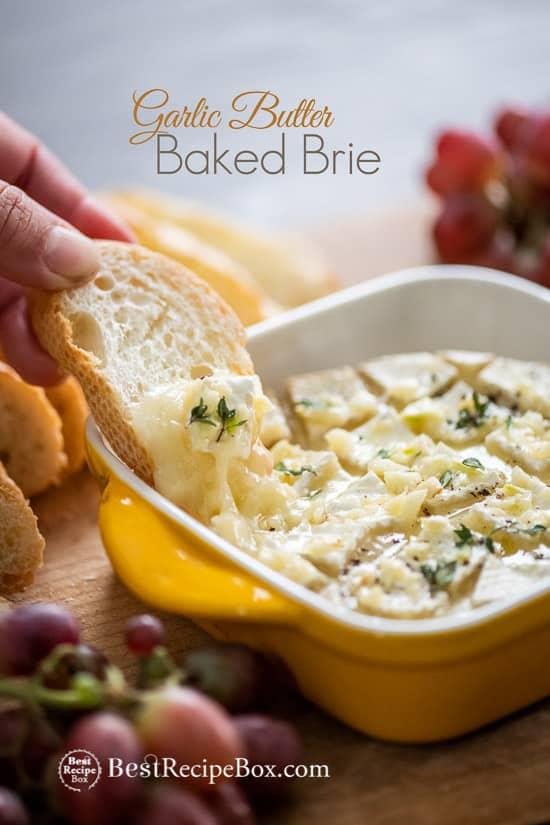 Garlic Butter Baked Brie | @BestRecipeBox