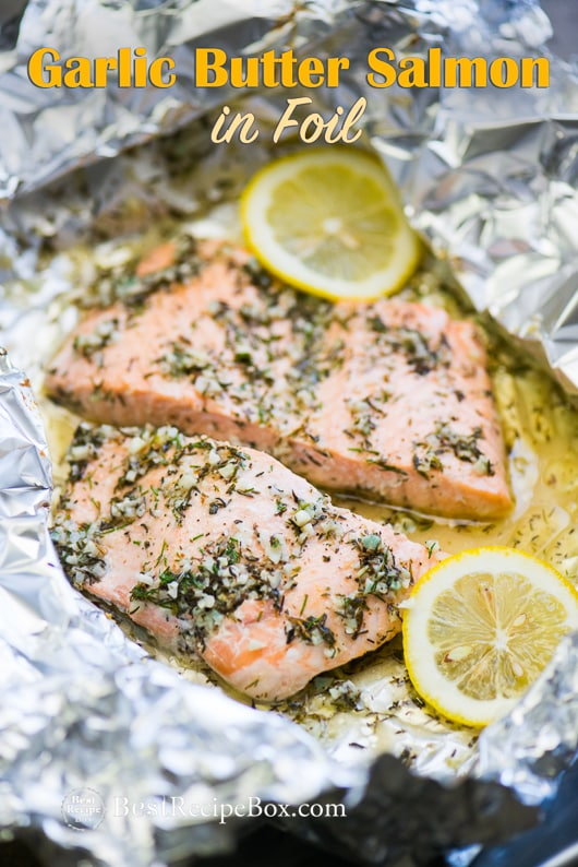 Baked Garlic Butter Salmon Recipe With Lemon In Foil