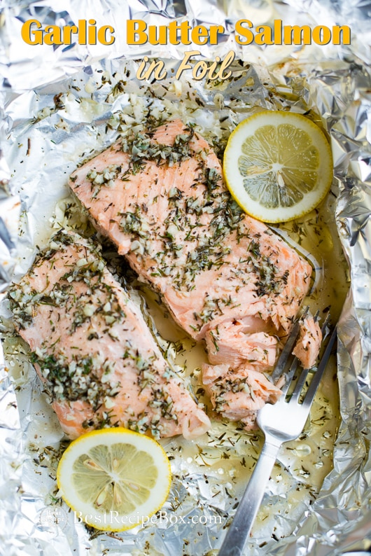 Baked Garlic Butter Salmon in Foil - Healthy Salmon Recipe | @bestrecipebox