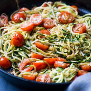 Italian Zucchini Noodles with Garlic, Tomato and Parmesan