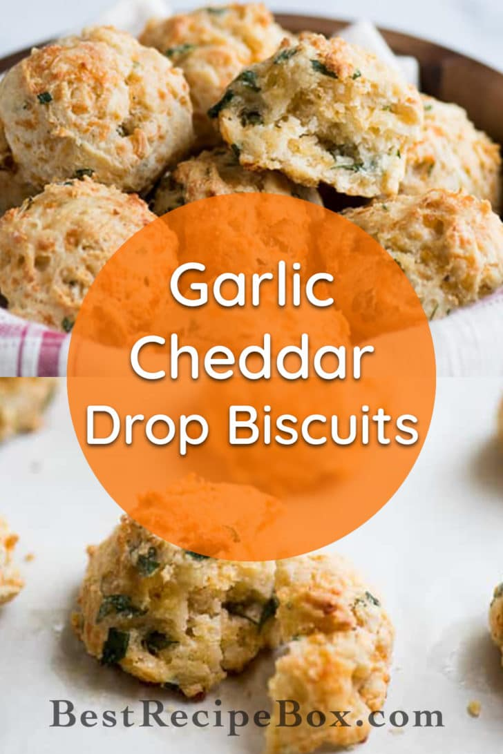 Flaky Garlic Cheddar Drop Biscuits perfect for biscuits and gravy | @bestreciepbox